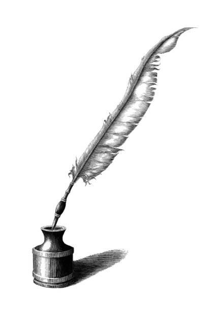 Plume et l'encrier à main vintage dessin gravure illustration sur fond blanc - Illustration vectorielle