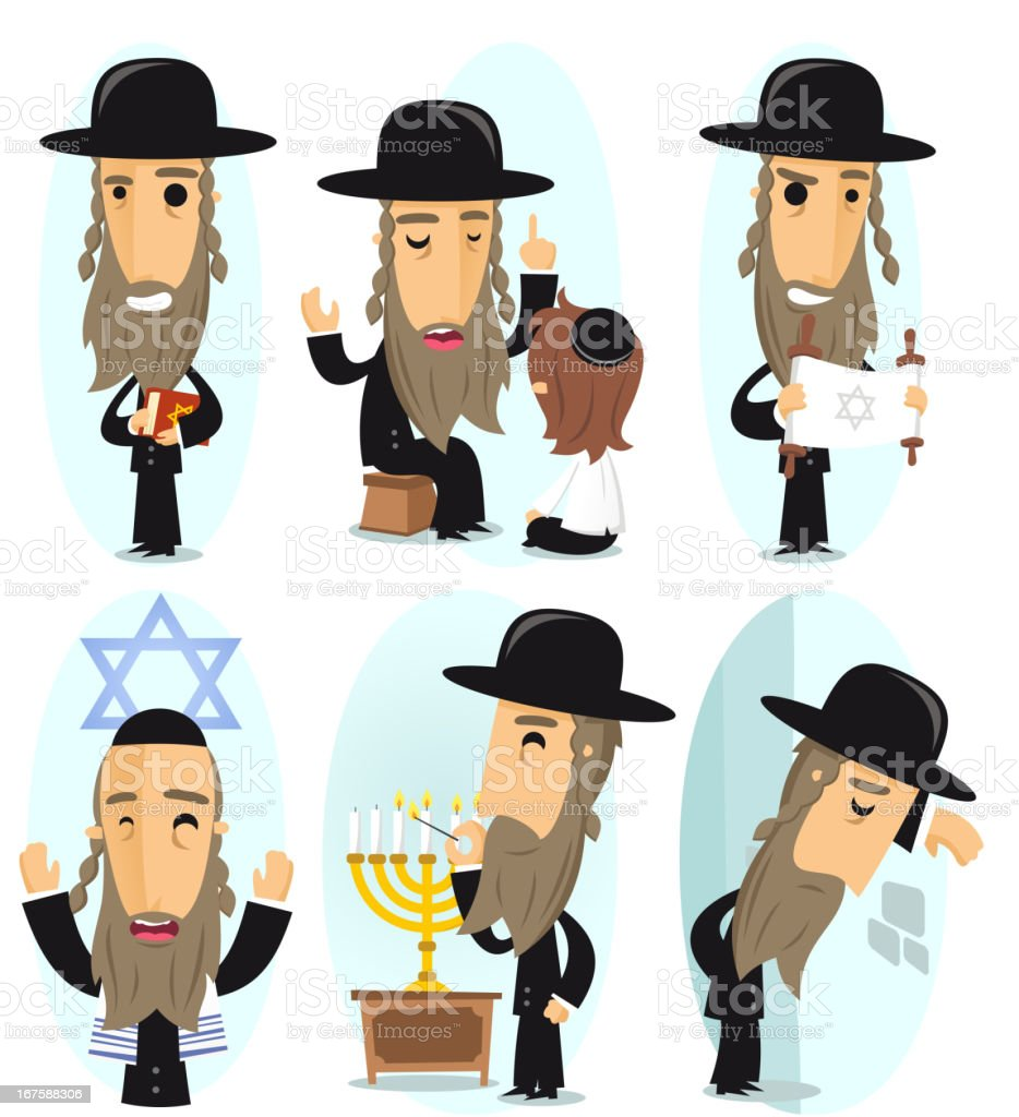 rabbi action set vector art illustration