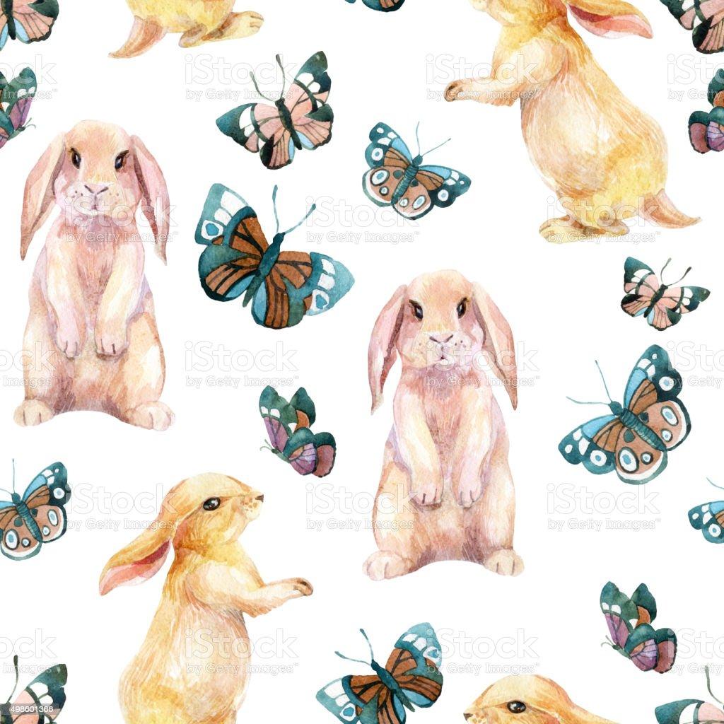 Ilustración de Conejo Y Mariposas Acuarela Patrón Sin Costuras y más ...
