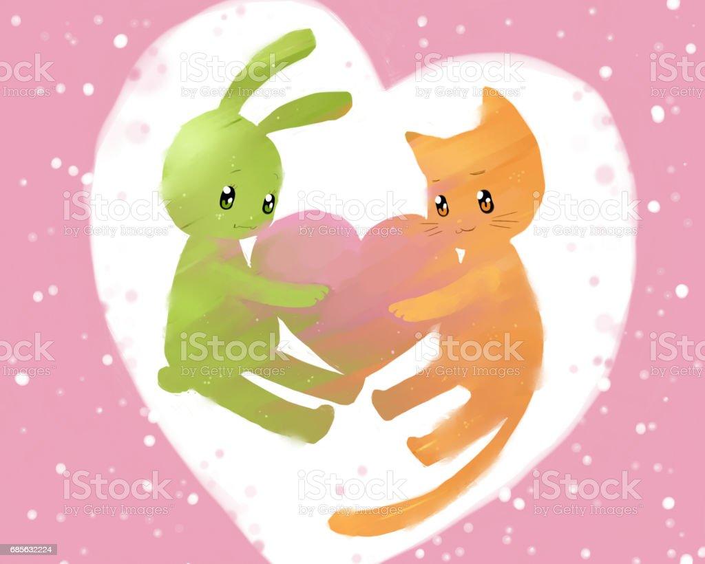 兔子和貓保持心 免版稅 兔子和貓保持心 向量插圖及更多 俄羅斯 圖片