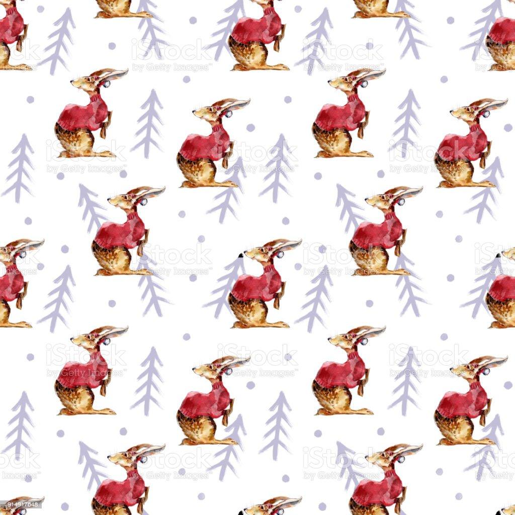 Kaninchen Und Tannen Winter Handgezeichneten Hintergrund Aquarell
