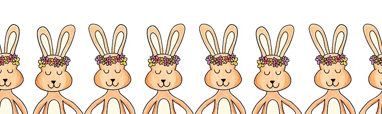 Rabbit seamless border painted. Repeating horizontal pattern with bunnies holding hands wearing flower crowns. Cute bunny art for Easter cards, ribbon, fabric trim, kids fashion, banner, footer, tape