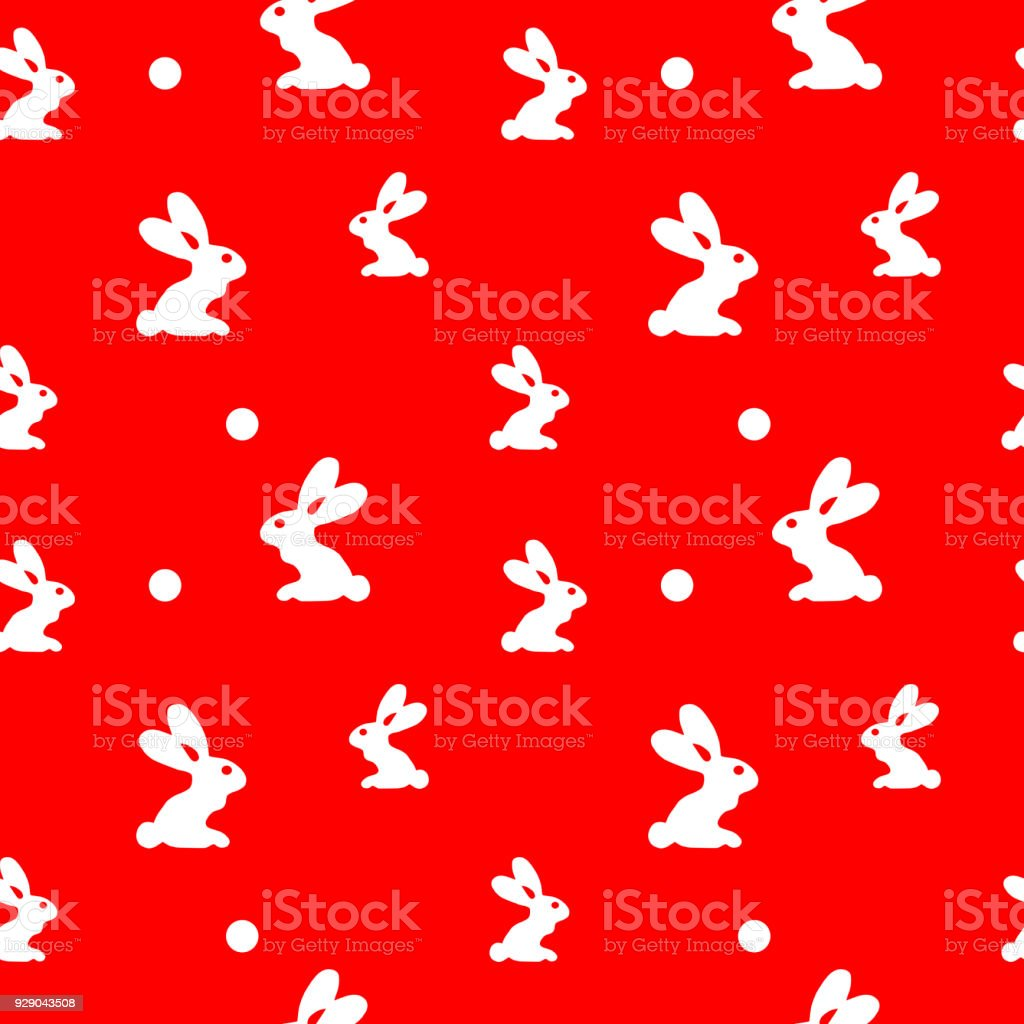 Rabbit Seamless Red Pattern For Packing Wrapping Textyle