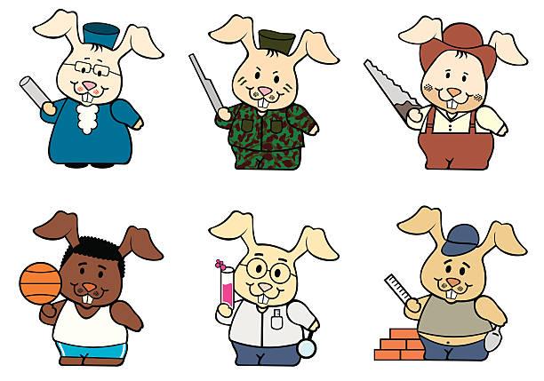 coelhos profissões - black power stock illustrations