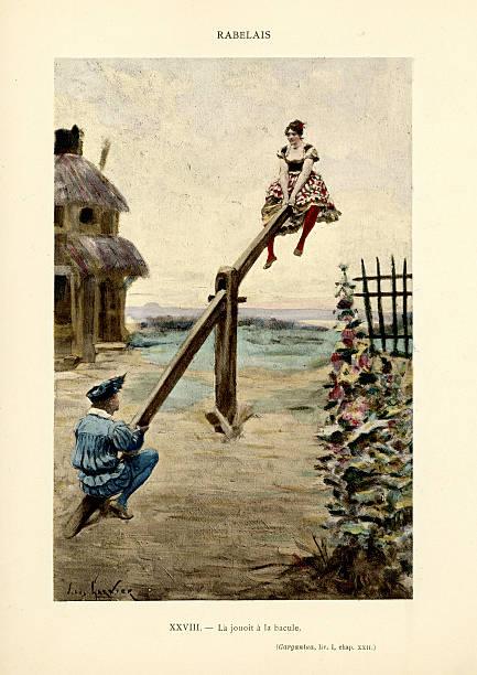 rabelais -  the games of gargantua - renaissance style stock illustrations, clip art, cartoons, & icons