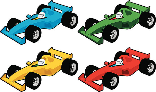 Race Car Icons Coloured race car icons indy racing league indycar series stock illustrations