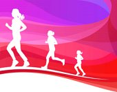 Colorful background with female running silhouettes.