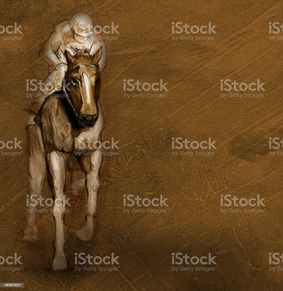 Race Horse and Jockey Background royalty-free stock vector art