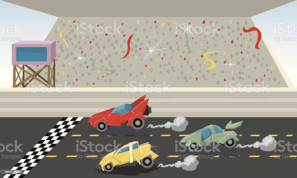 Race to the finish vector art illustration