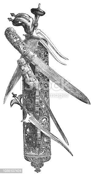 Antique rack showing Burman Empire (modern day Myanmar) weapons with hilts of ivory. Vintage etching circa mid 19th century.