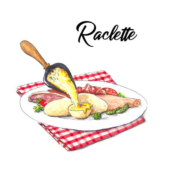 illustrations, cliparts, dessins animés et icônes de croquis dessiné à la main de raclette avec des pommes de terre et du jambon - raclette