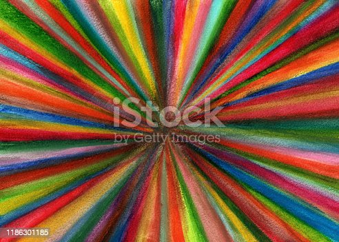 Abstract watercolor painting of multi colored radial lines coming out from the center and covering the whole frame