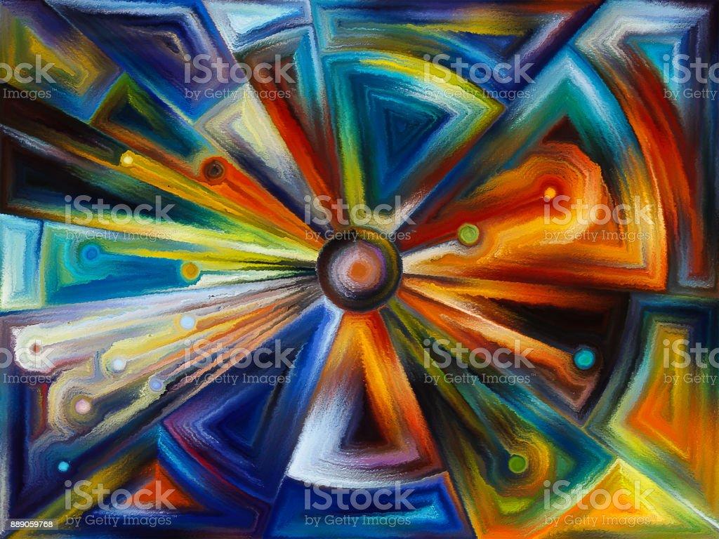 Radial stained glass design vector art illustration
