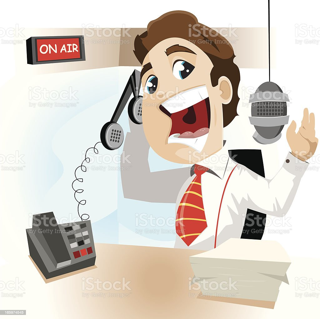 Radio Announcer vector art illustration