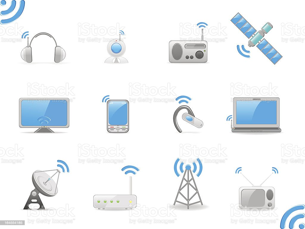Radio signals, set of vector illustrations royalty-free stock vector art