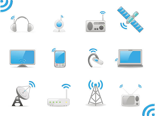 Radio signals, set of vector illustrations vector illustration and can be scaled to any size and color without loss of resolution repeater tower stock illustrations
