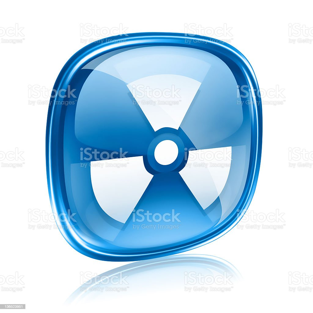 Radioactive icon blue glass, isolated on white background. royalty-free stock vector art
