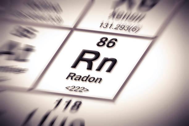 stockillustraties, clipart, cartoons en iconen met radon gas-concept beeld met periodieke tabel van de elementen - radon test