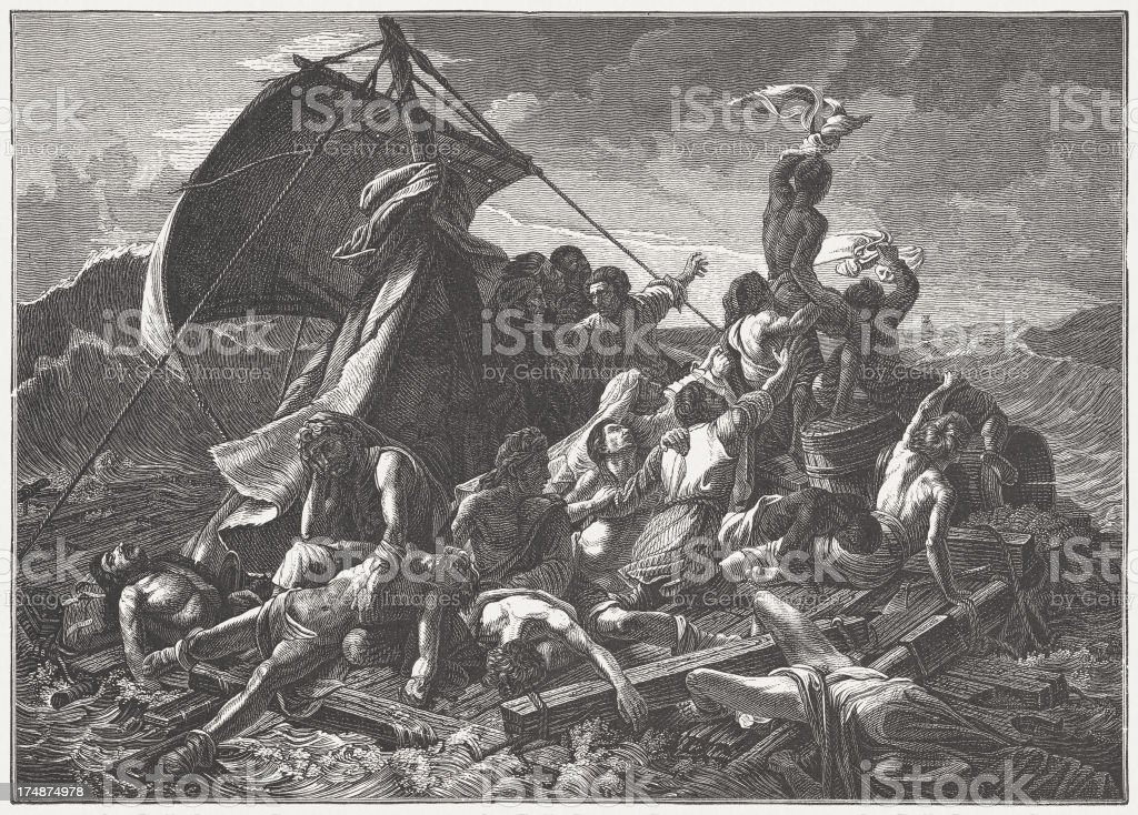 Raft of the Medusa, by Théodore Géricault, published in 1882 vector art illustration