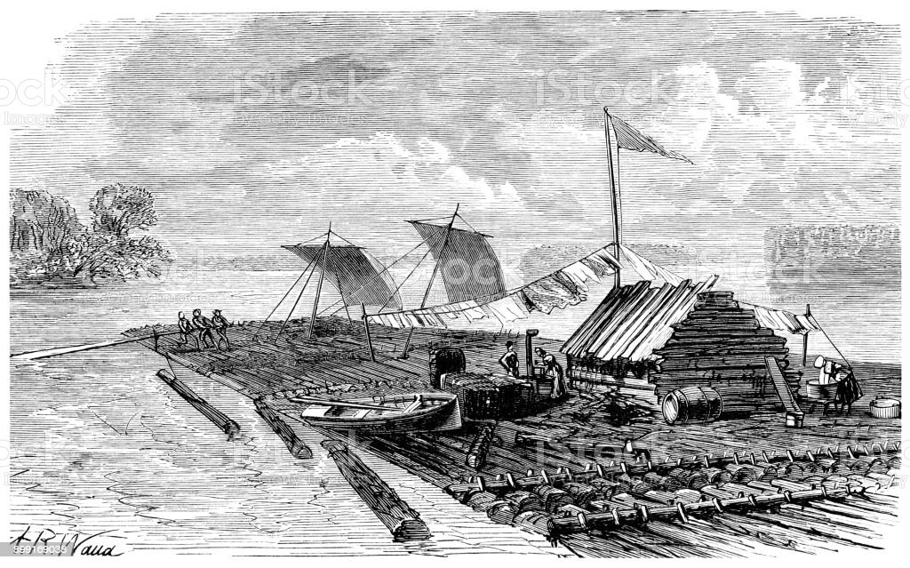 Raft on the Mississippi River vector art illustration