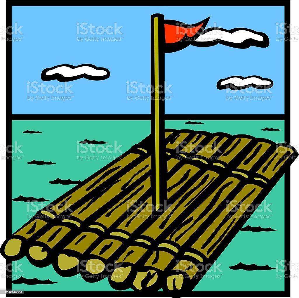 raft wood ship vector art illustration