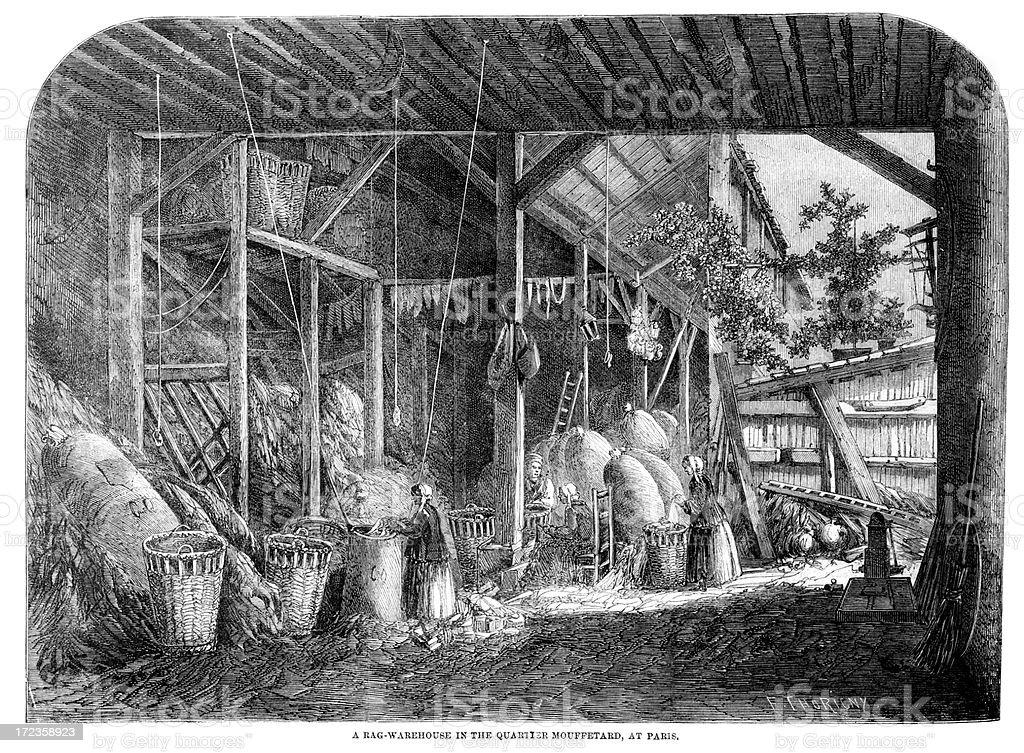 Rag Warehouse, Paris, France royalty-free rag warehouse paris france stock vector art & more images of 1860-1869