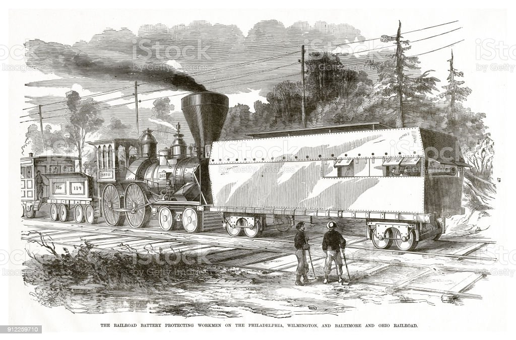 Railroad Battery Protecting Workmen on the Philadelphia, Wilmington and Baltimore and Ohio Raiulroad American Civil War Engraving vector art illustration