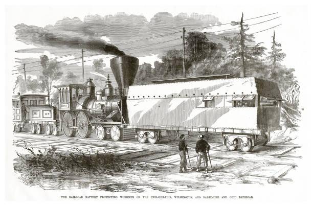 Railroad Battery Protecting Workmen on the Philadelphia, Wilmington and Baltimore and Ohio Raiulroad American Civil War Engraving vector art illustration