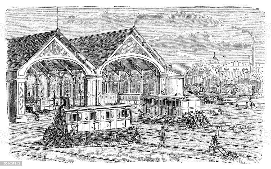 Railroad yard workers moving railway wagons vector art illustration