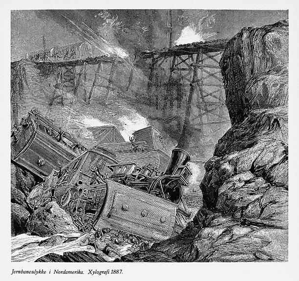 bildbanksillustrationer, clip art samt tecknat material och ikoner med railway accident and derailing in north america engraving, 1887 - derail