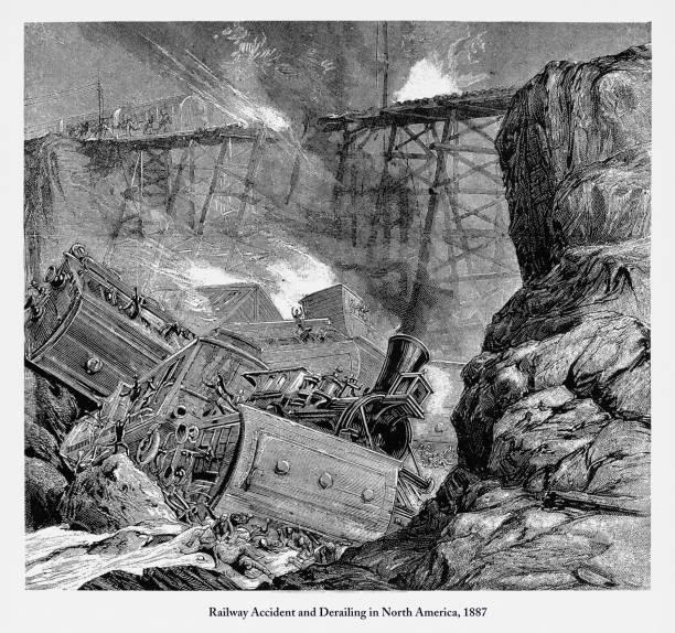 bildbanksillustrationer, clip art samt tecknat material och ikoner med järnvägen olycka och urspårning i nordamerika gravyr, 1887 - derail