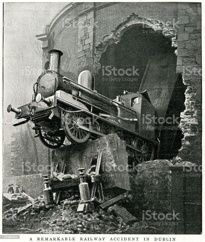 Railway Accident, Dublin vector art illustration