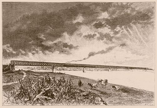 Illustration of a Railway bridge on the Sava between Zemun and Belgrade