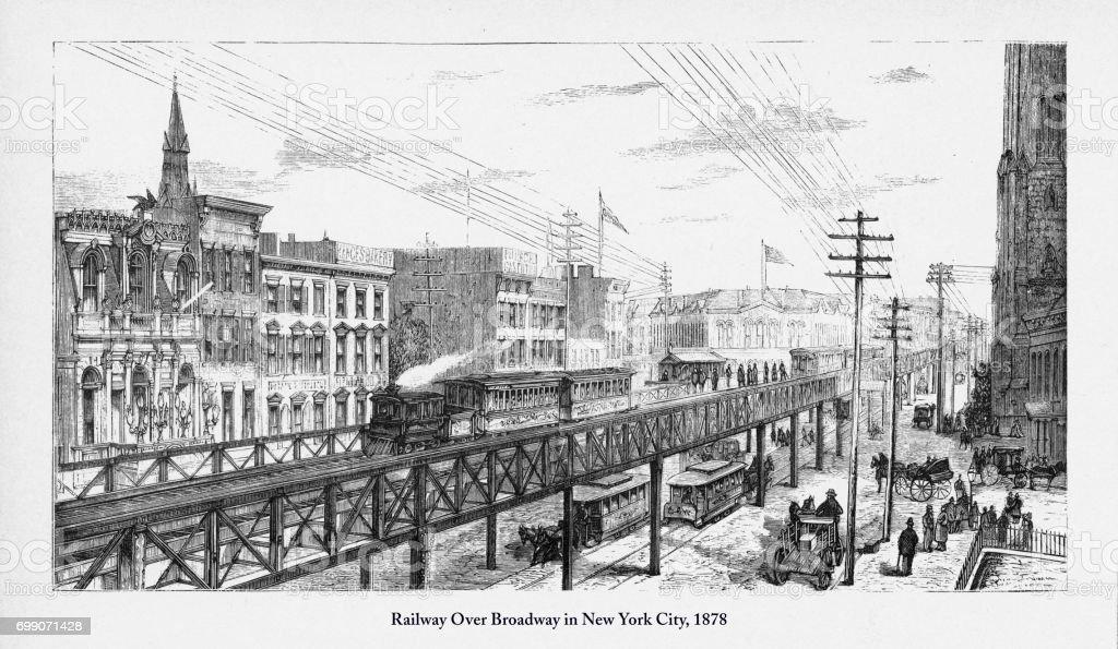 9b5084135c5 New York City Victoria 1878 Oyma Içinde Tren Broadway Üzerinde Stok ...