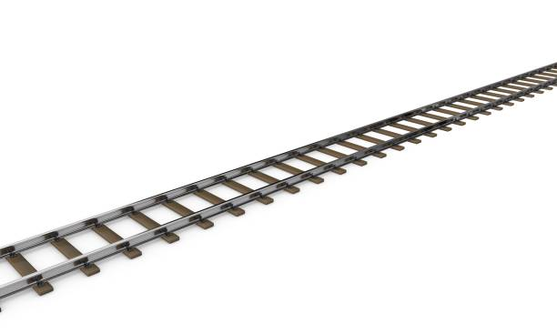 railway track. isolated on white background. 3d rendering illustration. - railroad track stock illustrations, clip art, cartoons, & icons