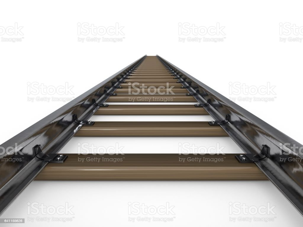 Railway Track Isolated On White Background 3d Rendering Illustration