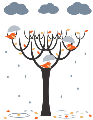 Rain Birds Stock Illustration - Download Image Now