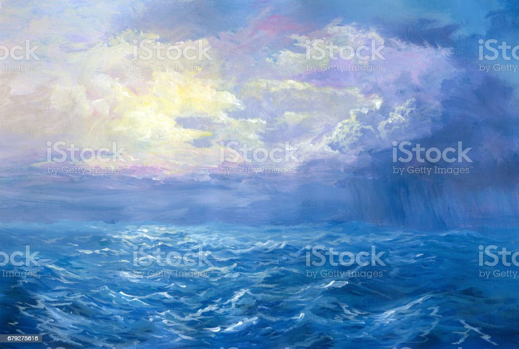 Denizde Yağlıboya Resim Yağmur Stok Vektör Sanatı Akrilik Boyama