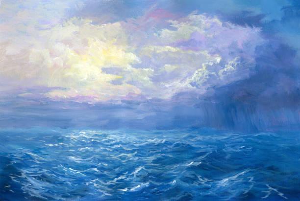rain on sea, oil painting rain on sea, oil painting impressionism stock illustrations