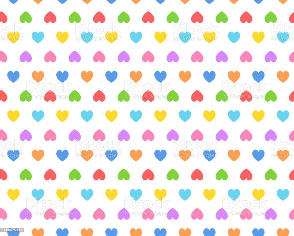 Rainbow color heart seamless pattern vector art illustration
