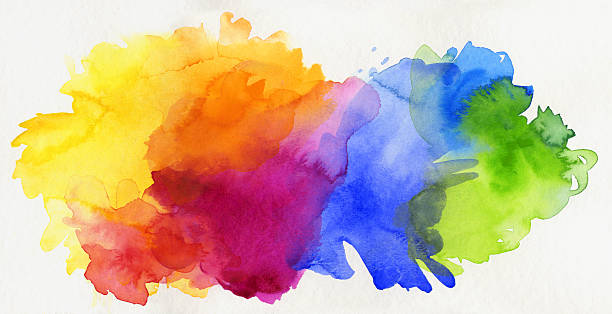 bildbanksillustrationer, clip art samt tecknat material och ikoner med rainbow colored watercolor paints isolated on paper - konst och konshantverk