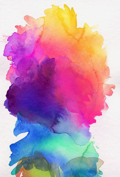 Arco-íris colorido Tinta Aquarela sobre papel - ilustração de arte em vetor