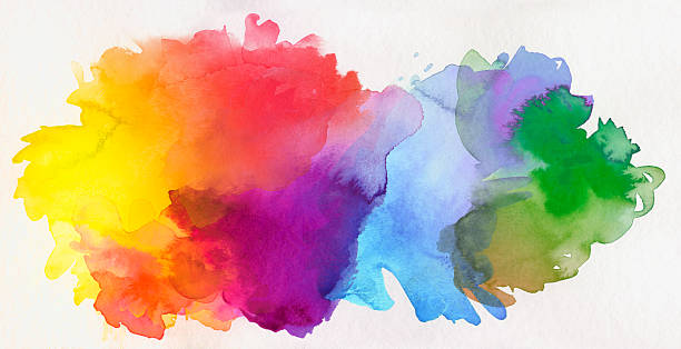 rainbow colored watercolor paints on paper vector art illustration
