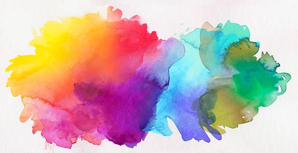Regenbogen-farbigen Aquarell Farben auf Papier – Vektorgrafik