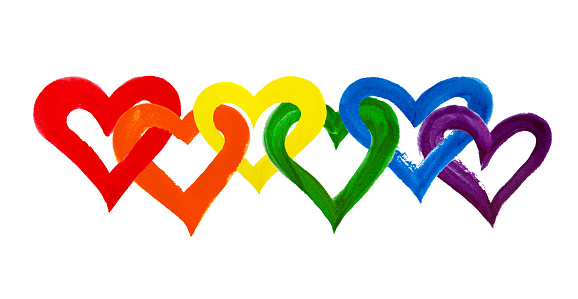 Rainbow colors intertwined hearts on white background isolated close up, overlapping heart LGBT flag color, hand drawn watercolor LGBTQ symbol, lesbian, gay etc love sign, art border, design element