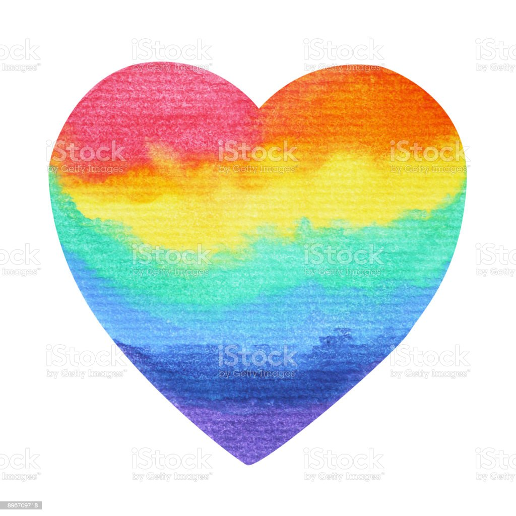 Rainbow Heart Lgbt Symbol Watercolor Painting Hand Drawn Clipping