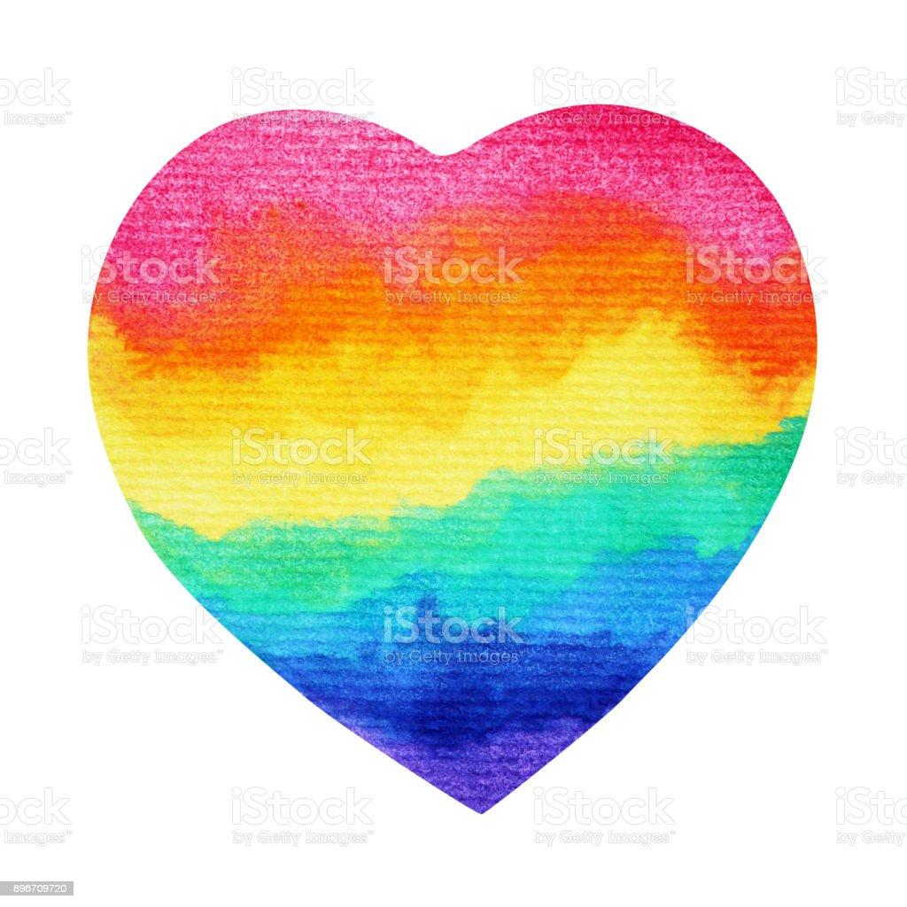 corazón del arco iris LGTB símbolo dibujado, a mano acuarela trazado de recorte - ilustración de arte vectorial