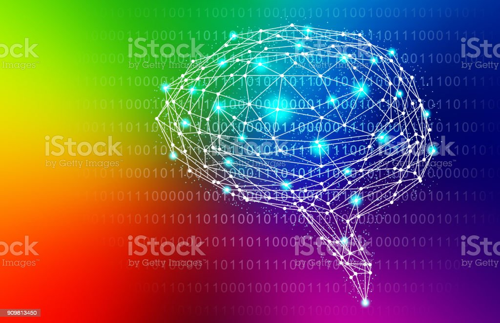 Rainbow Intelligent Artificial brain mother computer. illustration background image. vector art illustration