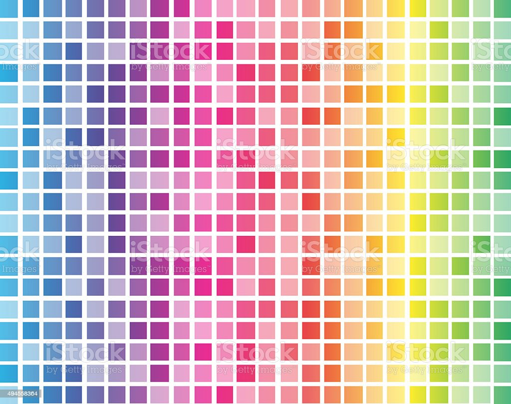 Rainbow squares with white grid background vector art illustration
