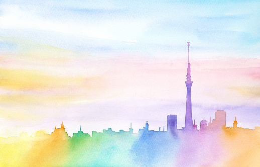 Rainbow town painted in watercolor.